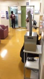 待合室での除菌剤噴霧事例