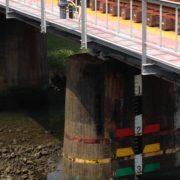 橋の工事期間中のみ水位を監視したい:空中レベル計